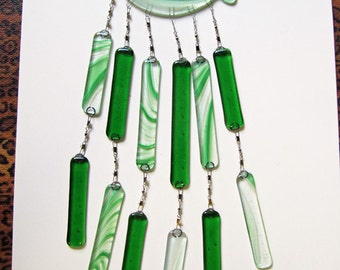 Handmade fused glass green Fish Wind Chime
