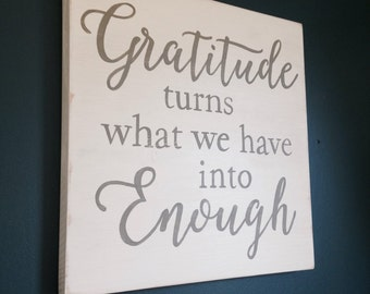 Gratitude Quote, Hand Painted Sign