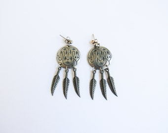 Serpent Vintage Dream Catcher Earrings With Pewter, Snakes, & Feathers