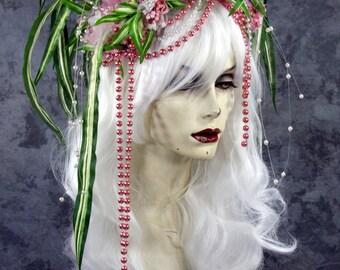 SPRING SALE: Blonde Pink Flower Fairy Queen- Full WIG, Hair Headpiece, Costume, Renaissance, Model, Princess, Larp,