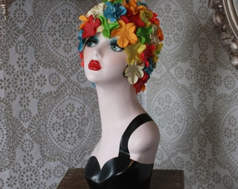 Vintage 1950's Multicolored Floral Swimcap