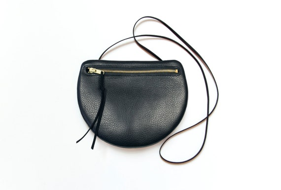 LAST ONE. PEARL Black Leather Shoulder Purse. Small Round Cross Body Purse.