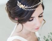Bridal Hair Jewelry, Gold Crystal Hair Chain, crystal tiara,  Bridal Chain Headpiece, crystal wedding headpiece, bridal hair accessories