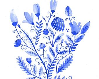 Original painting with watercolors on paper. Blue flowers design. Original art floral botanical illustration. Cyan monocromy. Folk art.