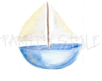 Watercolor Blue Sailboat Clip Art
