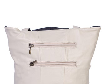 Ladies recycled leather reversible tote style handbag