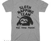 Sloth Napping Team T Shirt Unisex Vintage Tri Blend T Shirt Funny T Shirt Nap Sleep Repeat T Shirt Mens Womens Kids T Shirt Animal Gifts Tee