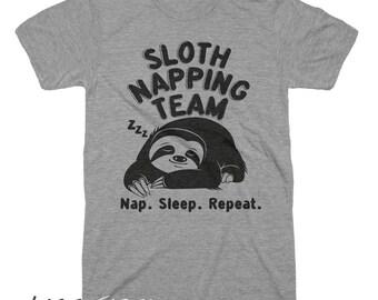 Sloth Napping Team Shirt Funny Tshirts Sloth Shirt Sloth Gifts Mens Tshirt Womens Graphic Tees Sleep Shirt Sleeping Beauty Shirt Team Gifts