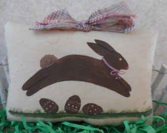 Primitive Hand Painted Chocolate Easter Bunny Folk Art Wallhanging Pillow Tuck