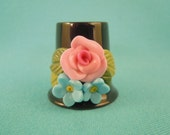 HAND SCULPTED Polymer Clay Rose and Forget-me-not on Black Porcelain Thimble