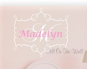 Wall Decal Baby Girl Name Nursery Monogram Decals  Vinyl Lettering Shabby Chic Decals Name Wall Decal Personalized Wall Decor Bedroom Decal
