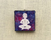 Namaste/Meditation Pose, 4x4 inch canvas, mini yoga decor, freehand applique, all recycled fabrics, sewn on a 1968 Singer, ready to hang