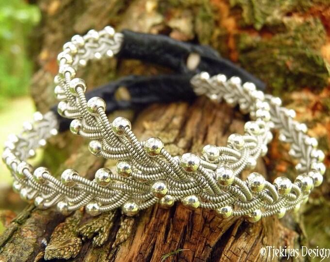 RIMFAXE Sami Bracelet Viking Swedish Pewter Braided Bracelet with Sterling Silver beads and Black Reindeer Leather - Handcrafted Elegance