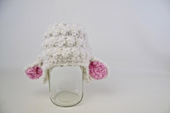 Hand Crochet Lamb Chop Hat: Made to Order in any Size