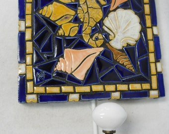 Sea Shell Mosaic Art Handmade Ceramic Tile  Wall Hook Cobalt Blue