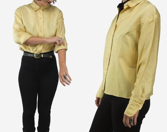 1950s Greta Plattry vintage blouse  / vintage raw silk blouse / yellow button-up shirt