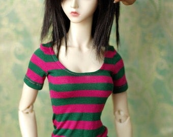 Super Gem Magenta And Green Striped Top For SD BJD