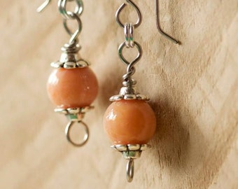 Simple peach and silver earrings