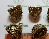 4 pcs per pack 15x13mm 10mm depth 13x11mm opening decorated Filigree Tassel Cone Findings Antique Gold Lead Free Pewter