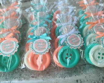 50 BUTTON SOAPS {25 Favors}  - Cute as a Button Baby Shower Soap Favors, 1st Birthday Party Favors, Sew Cute, Sewing, Handmade Soap Gift