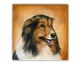 "12x12"" Custom Dog Portrait / Custom Pet Portrait 1 Pet Gradient background Original Painting Memorial Shetland Sheepdog Puppy Sheltie Art"