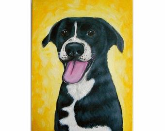 "9x12x0.75"" Custom Dog Portrait / Custom Pet Portrait - 1 Pet, Paint Stroke Gradient Background, acrylic Painting on  Canvas Memorial Cats"