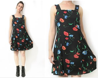 Black Poppy Floral Vinage 90s Dress Small Medium
