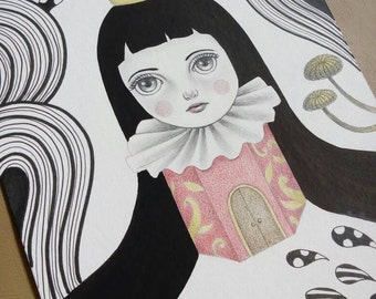 In My Own Kingdom, Original Drawing of a Princess  in a surreal forest , Graphite, Colored Pencil and Ink Art, Original Illustration