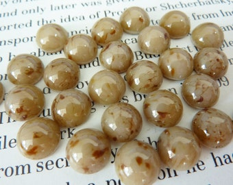 10 glass  cabochons, Ø9mm, marbled brown, round