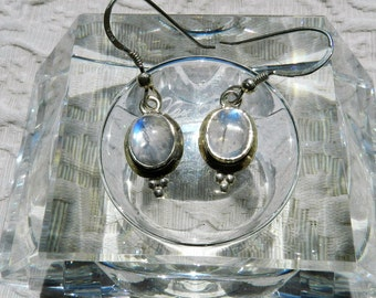 Vintage  Moonstone Earrings - Sterling Silver - Wire Clasp