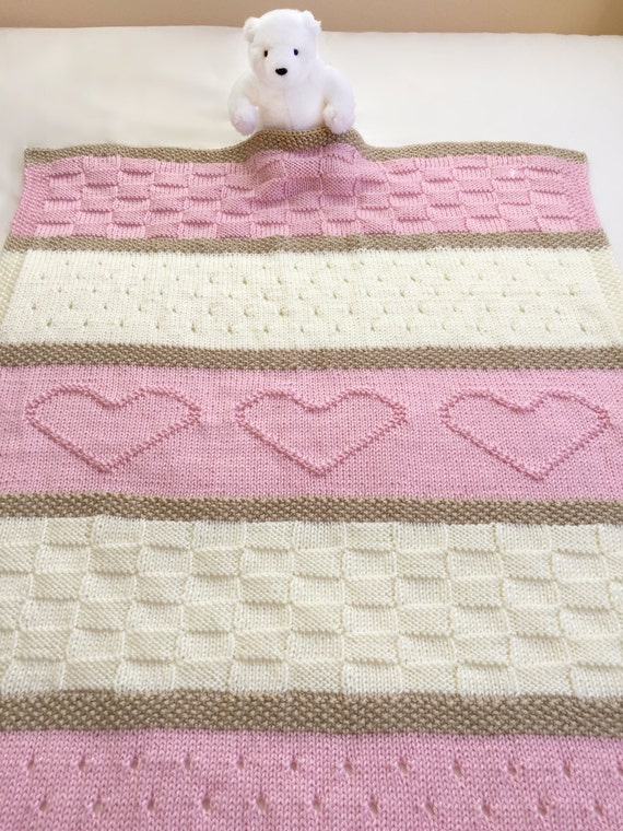 Knitting Pattern Crib Blanket : Baby Blanket Pattern, Knit Baby Blanket Pattern, Heart Baby Blanket Pattern, ...