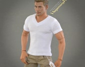1/ 6 scale white V-neck T-shirt for: regular size collectible movable action figures and male fashion dolls