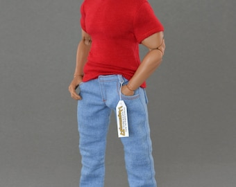 1/6th scale XXL light blue jeans pants / trousers for: bigger / larger sixth scale figures and male dolls