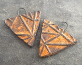 Angles- handmade ceramic tribal triangle earring bead pair orange