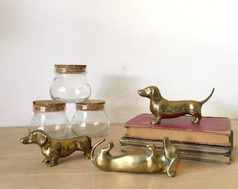 Unique Vintage Solid Brass Dachshund Weiner Dog Figurines