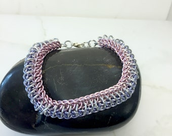Pink and Purple Chain Bracelet, Chainmaille Jewelry, Womens Bracelet, Aluminum Chainmail, Metal Bracelet, Gift for Her, Nickel Free Jewelry,