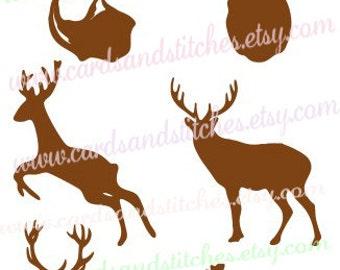 Deer Silhouettes SVG - Deer SVG - Wildlife SVG - Digital Cutting File - Graphic Design - Instant Download - Svg, Dxf, Jpg, Eps, Png