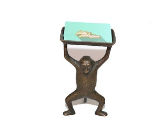 Vintage Monkey Dish Monkey Business Card Holder Monkey Butler Monkey Soap Dish Monkey Valet Brass Monkey Statue