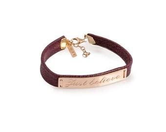 Personalized Rose gold bracelet personalized Leather bracelet Man bracelet women bracelet couples bracelet motivational inspirational