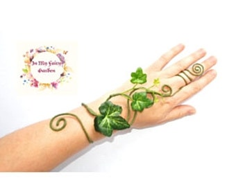 Poison ivy slim hand cuff slave bracelet fairy arm cuff mother nature whimsical woodland fancy dress tree people costume