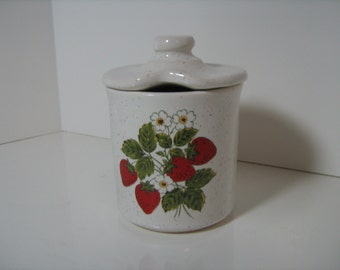Strawberry Country Jam Jar, Red, White, Green, Vintage McCoy Strawberry Country Dinnerware Collection