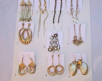 DESTASH Gold Tone Silver Tone Dangle Earrings Choose 1 Pair