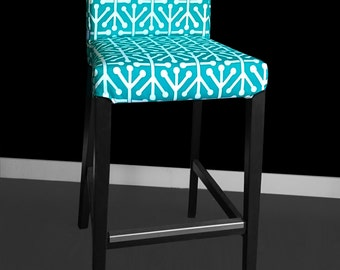 IKEA HENRIKSDAL Bar Stool Chair Cover - Aruba Pacifico Blue