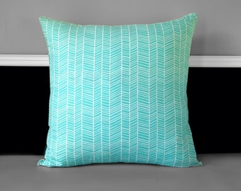 "Pillow Cover - Modern Meadow Herringbone Pond, 20"" x 20"", Ready to Ship"