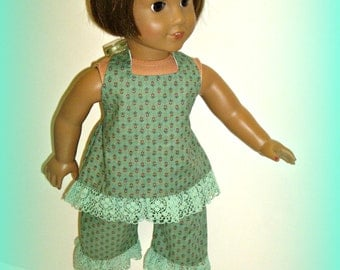 "Made to Fit 18"" Dolls Such as American Girl, for Adult Collectors, Halter Top and Capri Pants, Sage Green Summer Clothes by traveller240"