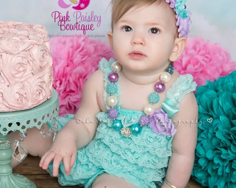 Baby Girl Chunky Necklace, Aqua Pearl Bubble Gum Necklace, Pearl Bubblegum Necklace, Photo Prop Necklace, Lavender Birthday party Cake smash