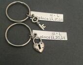 Date Keychains, Initial Keychains, Bar Keychains, Hand Stamped Keychains, Personalized Keychains, Wedding Gift