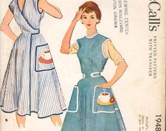 Super Vintage 1950s McCall's 1948 Wrap Around Full Apron or Sleeveless House Wrap Dress with Coffee Applique Sewing Pattern Sz Small
