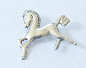 SALE Vintage Sterling Silver Galloping Horse Mexico Signed Pin