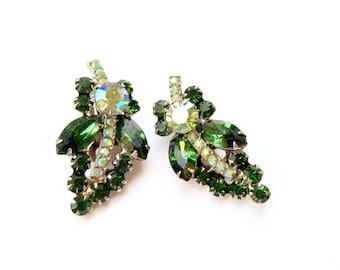 Emerald Green Rhinestone Ear Climber Earrings Vintage Retro Fall Fashion Jewelry